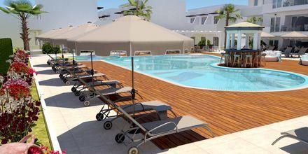 Skitsetegning af poolområdet på Hotel Pelopas i Tigaki på Kos, Grækenland.