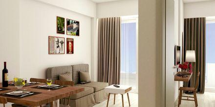 Skitsetegning på 2-værelses lejlighed på Hotel Pelopas i Tigaki på Kos, Grækenland.