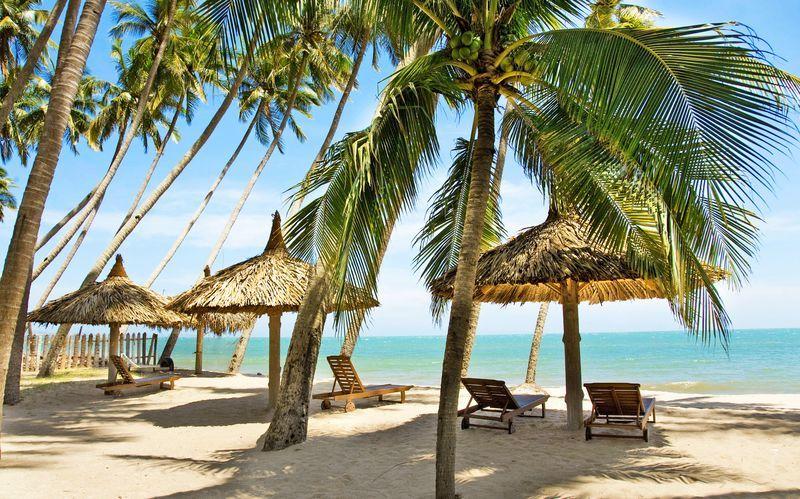 Stranden, Phan Thiet i Vietnam.