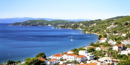 Udsigten fra Hotel Poseidon på Skiathos, Grækenland.
