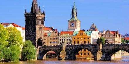 Den berømte Karlsbro i Prag, Tjekkiet.
