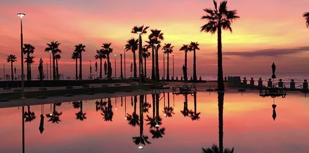 Solnedgang på Prestige Resort, Durres Riviera i Albanien.