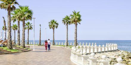 Promenaden langs havet ved Prestige Resort, Durres Riviera i Albanien.