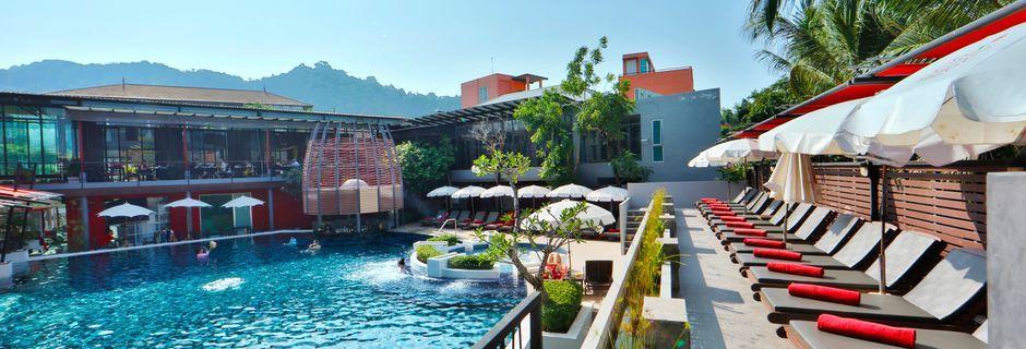 Poolområde på Hotel Red Ginger Chic Resort, Ao Nang, Krabi, Thailand.