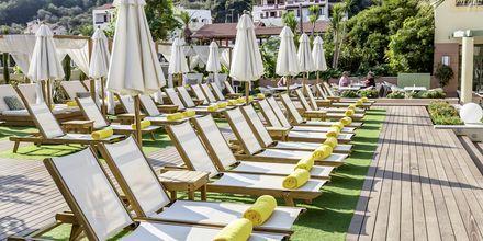 Poolområde på Hotel Samaina Inn i Karlovassi, Samos, Grækenland.