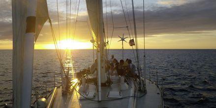 Bådtur i solnedgangen. En af de mange udflugter fra Santa Maria, Kap Verde