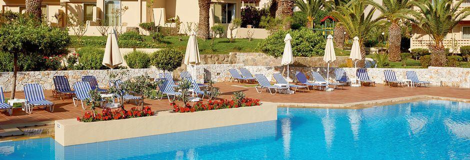 Poolområde på Santa Marina Beach i Agia Marina på Kreta, Grækenland