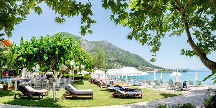 Have og strand ved Hotel Seaview på Lefkas, Grækenland.