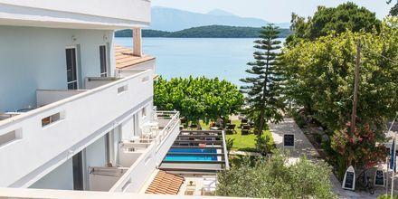 Udsigt fra balkon på Hotel Seaview på Lefkas, Grækenland.