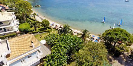 Udsigt over stranden ved Hotel Seaview på Lefkas, Grækenland.