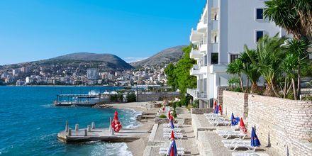 Stranden nærmest Hotel Serxhio i Saranda, Albanien