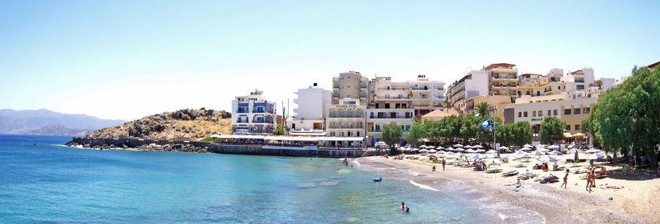 Stranden ved Hotel Sgouros i Agios Nikolaos på Kreta, Grækenland.