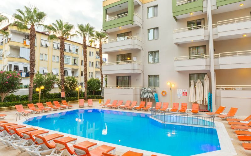 Poolområde på Hotel Sifalar i Alanya, Tyrkiet.