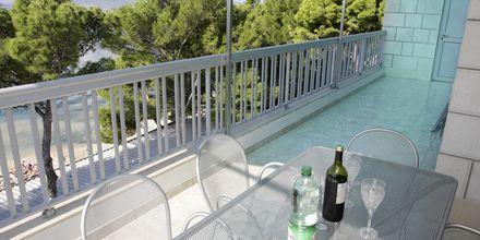 Udsigt fra lejlighed på hotel Simic i Makarska, Kroatien.
