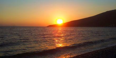Solnedgang på Tilos, Grækenland.