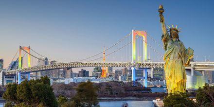 Tokyo har sin helt egen frihedsgudinde, her foran Regnbuebroen.