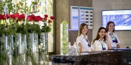 Reception på Turquoise Resort Hotel & Spa i Side, Tyrkiet.