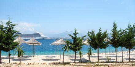 Stranden ved Hotel Vila Kalcuni i Saranda, Albanien