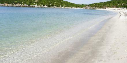 Stranden ved Hotel Villa Andreas i Ammoudia, Grækenland.